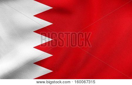 Flag Of Bahrain Waving, Real Fabric Texture