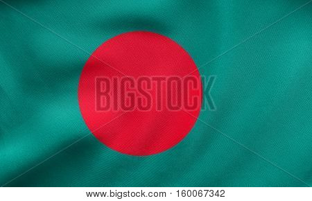 Flag Of Bangladesh Waving, Real Fabric Texture