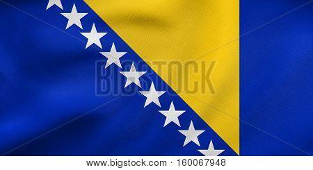 Flag Of Bosnia And Herzegovina Wavy Fabric Texture