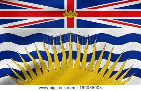 Flag Of British Columbia Wavy, Real Fabric Texture