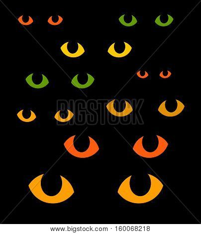 Green and yellow cat eyes in darkness illustration
