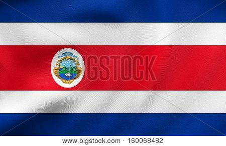 Flag Of Costa Rica Waving, Real Fabric Texture
