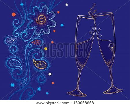 Vector illustration with two contour champagne glasses or flute in gold on the blue background with dotted swirls and snowflakes. Decor in dotwork style for holiday winter design and New Year theme.