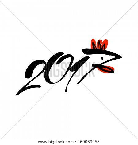 2017 Chinese New Year. Rooster bird concept sign. Vector template element of design logo, logotype, card, poster, clothing, postcard, calendar and invitation with rooster 2017.