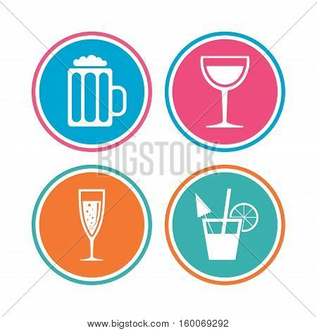 Alcoholic drinks icons. Champagne sparkling wine with bubbles and beer symbols. Wine glass and cocktail signs. Colored circle buttons. Vector