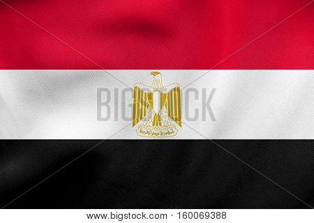 Flag Of Egypt Waving, Real Fabric Texture