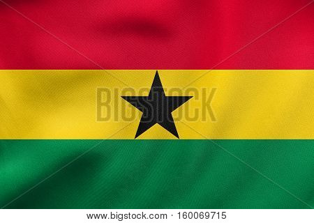 Flag Of Ghana Waving, Real Fabric Texture