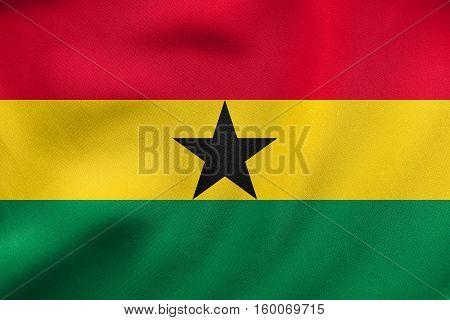 Flag Of Ghana Waving, Real Fabric Texture