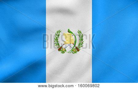 Flag Of Guatemala Waving, Real Fabric Texture