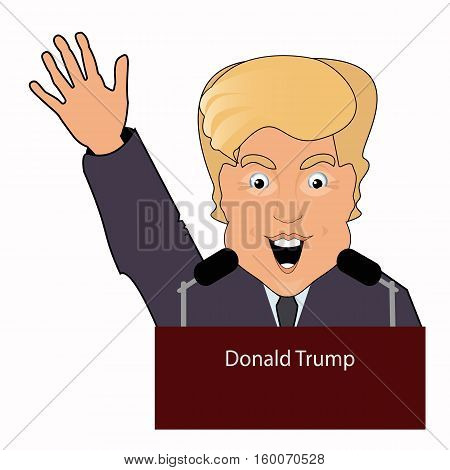 Donald Trump the president a smile a hand up the victory elections of 2016 gives to he an interview behind a tribune. On the white separated background. Illustration vector.