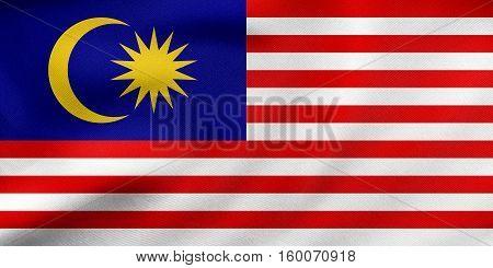 Flag Of Malaysia Waving, Real Fabric Texture