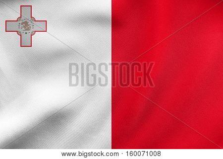 Flag Of Malta Waving, Real Fabric Texture
