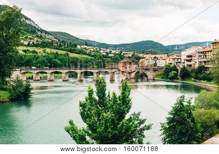 View of Millau on the River Tarn in southern France.