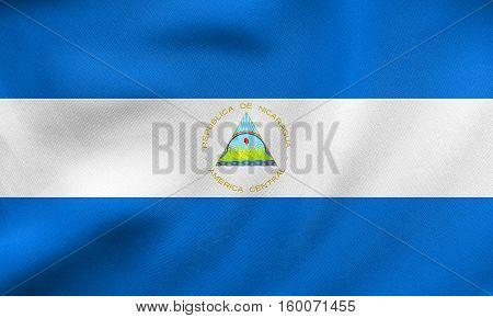 Flag Of Nicaragua Waving, Real Fabric Texture