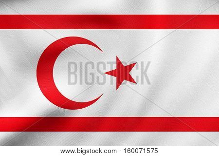 Flag Of Northern Cyprus Waving Real Fabric Texture