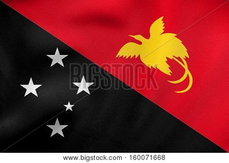 Flag Of Papua New Guinea Wavy, Real Fabric Texture