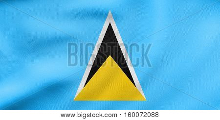 Flag Of Saint Lucia Waving, Real Fabric Texture