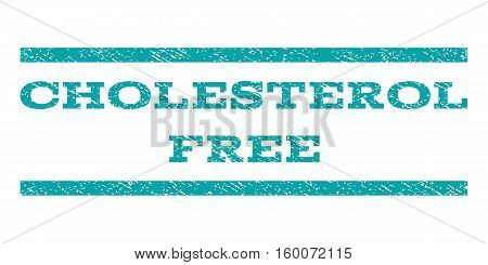 Cholesterol Free watermark stamp. Text tag between horizontal parallel lines with grunge design style. Rubber seal cyan stamp with dust texture. Vector ink imprint on a white background.