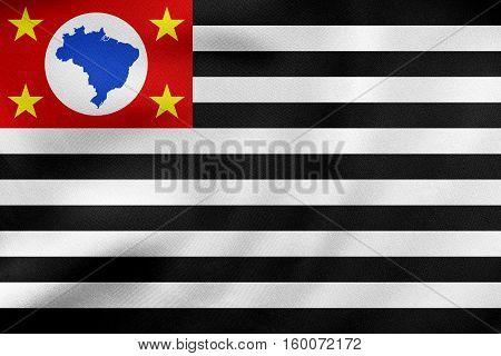 Sao Paulo, Brazil State, Flag Wavy, Fabric Texture