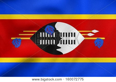 Flag Of Swaziland Waving, Real Fabric Texture