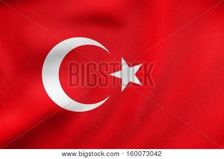Flag Of Turkey Waving, Real Fabric Texture