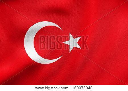 Flag Of Turkey Waving, Real Fabric Texture