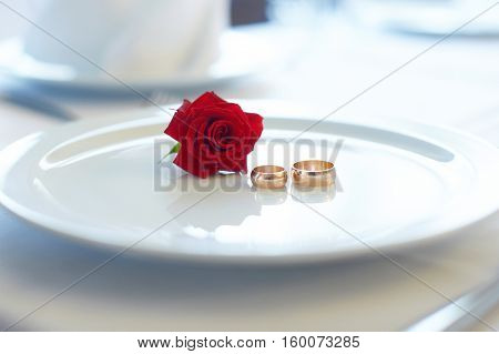white plate with wedding rings and rose