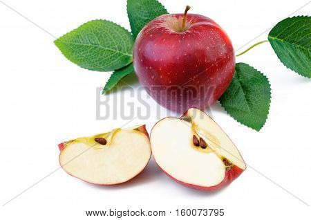 red apples with leaves isolated on white background