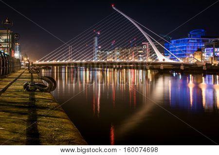 Samuel Beckett Bridge at night, Dublin Ireland