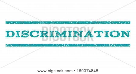 Discrimination watermark stamp. Text tag between horizontal parallel lines with grunge design style. Rubber seal cyan stamp with unclean texture. Vector ink imprint on a white background.
