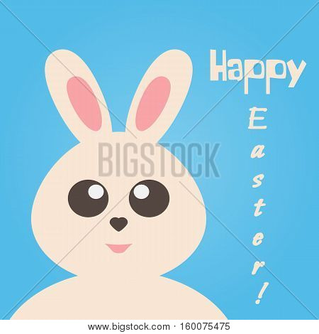 Cute bunny isolated on a blue background. Text Happy Easter! Greeting card banner template.