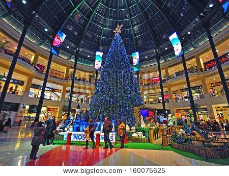 LISBON PORTUGAL - DECEMBER 2: Christmas eve and decorations in the Colombo shopping centre in Lisbon on December 2 2013. Colombo is the largest shopping mall in the capital of Portugal.