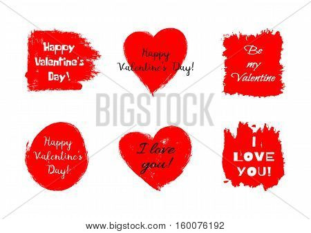 Set of stickers for Valentine's Day. Declaration of love congratulations on the holiday. Grunge. Rough brush smears.