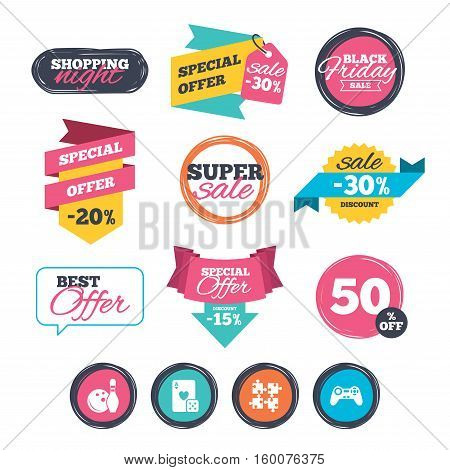 Sale stickers, online shopping. Bowling and Casino icons. Video game joystick and playing card with puzzles pieces symbols. Entertainment signs. Website badges. Black friday. Vector