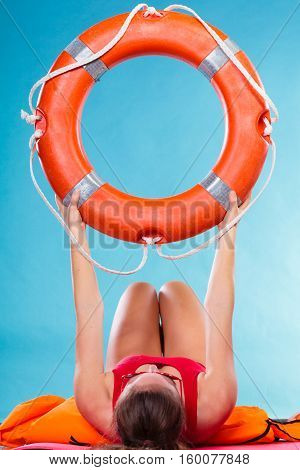 Woman Holding Life Buoy Ring