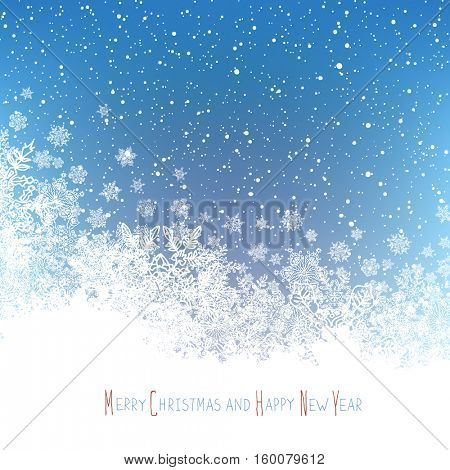 Christmas Postcard. New Year Greeting. Isolated downside area for greeting. Blue winter snowfall background.