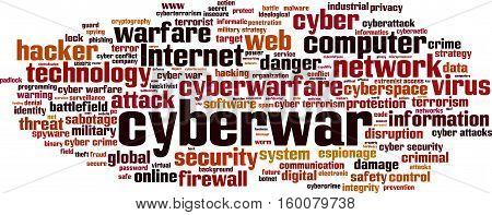 Cyberwar word cloud concept. Vector illustration on white