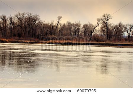 Lanscape of the river at Missouri Headwaters State Park Montana.