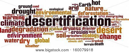 Desertification word cloud concept. Vector illustration on white