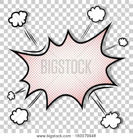 Transparent Background with Boom comic book explosion vector design pattern