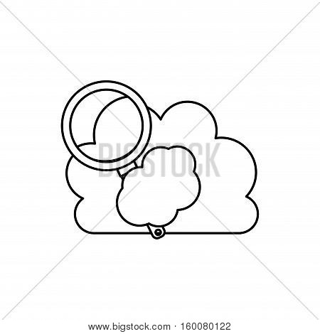 Lupe tool and cloud icon. Search magnifying glass zoom and lens heme. Isolated design. Vector illustration