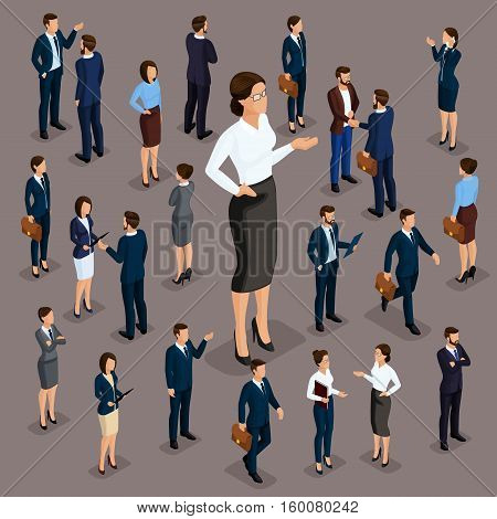 People Isometric 3D the big boss is a woman leader business business wear. The concept of office workers. Director and subordinates isolated on a dark background.