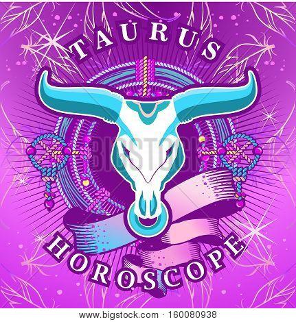 Vector illustration of magic horoscope sign Taurus style of the 60s bright hippie art
