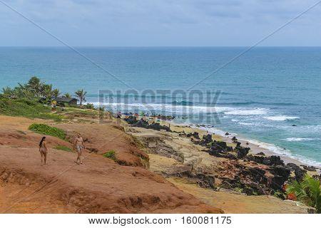 TIBAU DO SUL, BRAZIL, JANAURY - 2016 - Tropical view landscape scene of empty beach at Tibau do Sul a watering place located in Brazil