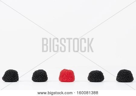Delicious jelly beans isolated on white blackground
