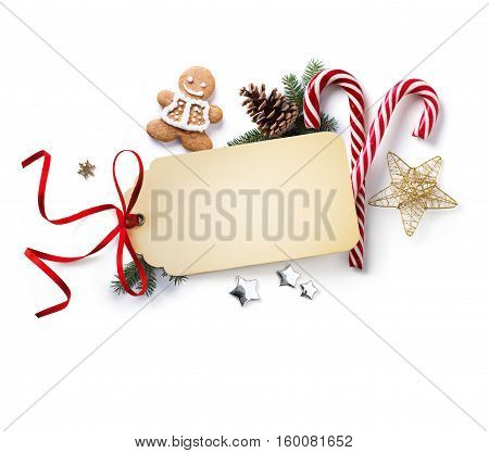 Christmas holiday Decoration; Christmas composition with fir tree branches and holiday ornament on white background. Flat lay top view