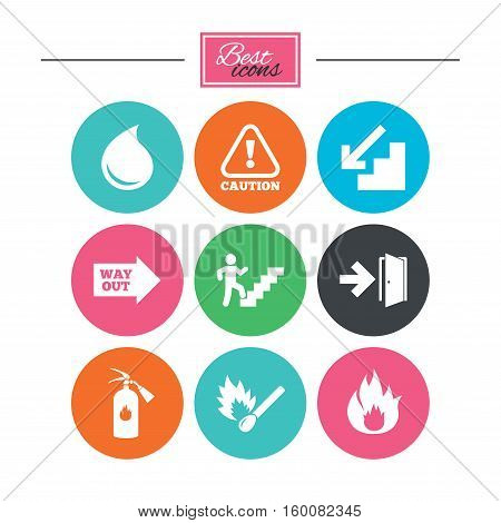 Fire safety, emergency icons. Fire extinguisher, exit and attention signs. Caution, water drop and way out symbols. Colorful flat buttons with icons. Vector