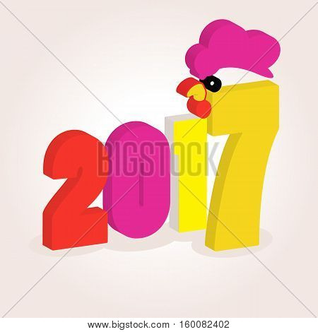 the icon picture number of a dvetysyacha the seventeenth year 2017 on a white fone.simvol of rozhdestvo an apetukh chicken bird. to use for design the press t-shirts. vector illustration