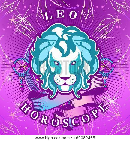 Vector illustration of magic horoscope sign Leo style of the 60s bright hippie art