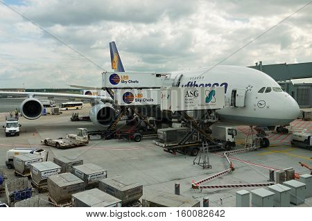 Airbus A380 of the German airline Lufthansa. The biggest passenger plane in the world. Munich Airport, Germany. September 5, 2016
